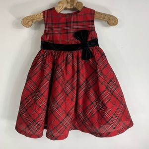 Gymboree Christmas Red  Tafetta Plaid Dress Sz 3T